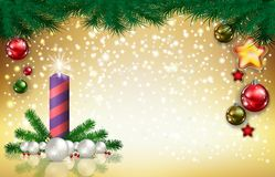 Christmas background with candle Stock Photo
