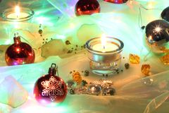 Christmas background with candle light Stock Photography
