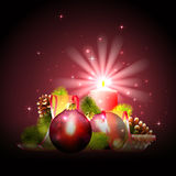Christmas background with candle light Royalty Free Stock Image