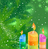 Christmas background with candles. Christmas green background with candles Royalty Free Stock Photos