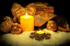 Christmas background with candles Stock Photo
