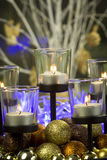 Christmas background with candles and baubles Stock Images