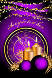 Christmas background with candles and clock. Vector purple christmas background with candles and clock Royalty Free Stock Photo