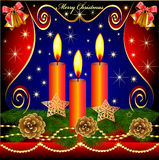 Of christmas background with candles cones Royalty Free Stock Image