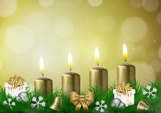 Christmas background with candles and empty space Stock Images