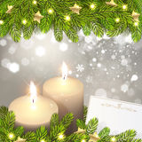 Christmas Background with Candles Royalty Free Stock Photos