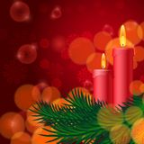Christmas background with candles and fir tree Royalty Free Stock Photo