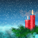 Christmas background with candles and fir tree Royalty Free Stock Photos