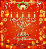 Christmas background with candles and gingerbread bells Royalty Free Stock Images