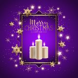 Christmas candle background with snowflakes design. Christmas background with candles, snowflakes and stars Royalty Free Stock Photo