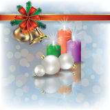 Christmas background with candles on white Stock Photography