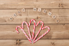 Christmas Background. Candy Canes. Best Wishes Royalty Free Stock Photography