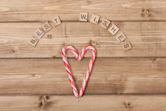 Christmas Background. Candy Canes, Heart Shape Stock Photography