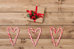 Christmas Background. Candy Canes, Heart Shape Royalty Free Stock Photos