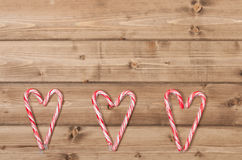Christmas Background. Candy Canes, Heart Shape Royalty Free Stock Images