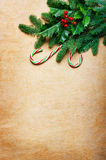 Christmas background with candy canes and spruce branch Stock Photo