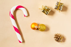 Christmas background with candycane and decorations Royalty Free Stock Images