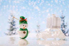 Christmas background.Car with gifts Royalty Free Stock Photo