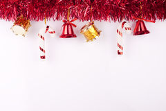 Christmas background or card. Christmas bells, drums , balls on white background Royalty Free Stock Photography