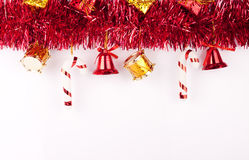 Christmas background or card. Christmas bells, drums , balls , boxes on white background Royalty Free Stock Image