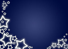 Christmas background / card. Blue christmas background / card with white stars Royalty Free Stock Images