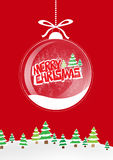 Christmas background card. Merry christmas card with trees glass balls and snow sample your text vector illustration