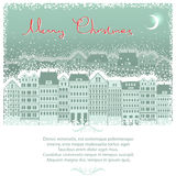 Christmas background card with cityscape. Royalty Free Stock Photography