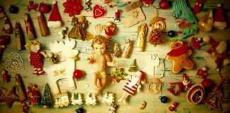 Christmas cards. Baby Jesus and Nativity ornaments stock images