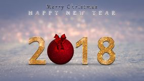 Christmas background, card, illustration with golden, glitter 2018 numbers, red Christmas bauble, ball. And Merry Christmas, Happy New Year text on snow, with Stock Images
