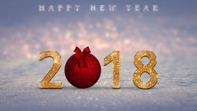 Christmas background, card, illustration with golden, glitter 2018 numbers, red Christmas bauble, ball. And Merry Christmas, Happy New Year text on snow, with stock photo