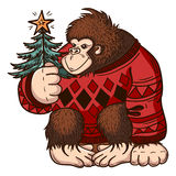 Christmas background card with monkey. Merry Christmas and happy New Year Stock Image