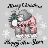 Christmas background card with monkey. Merry Christmas and happy New Year. Vector illustration stock illustration