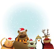 Christmas card with animals Royalty Free Stock Image