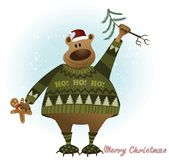 Christmas card with bear Stock Images