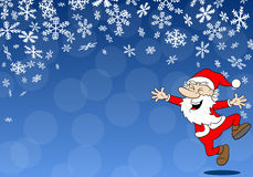 Christmas background with a cartoon santa claus Royalty Free Stock Photos