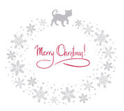 Christmas background with cat. Christmas background with silver cat Stock Photo