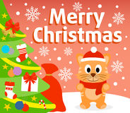Christmas background with cat Stock Images