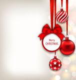 Christmas Background with Celebration Card and Glass Ball. Illustration Christmas Background with Celebration Card and Glass Balls - Vector Stock Photography