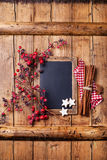 Christmas background with chalk board Royalty Free Stock Photos