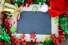 Christmas background and chalkboard decoration. Christmas background with chalkboard and decorations stock photo
