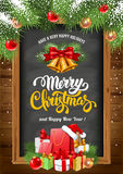 Christmas background with chalkboard Royalty Free Stock Images