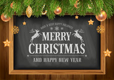 Christmas background with chalkboard. In wooden frame with painted holiday typography and decorated Christmas fir tree. Vector stock illustration royalty free illustration