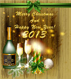 Christmas background with champagne. Candles and fur branches vector illustration