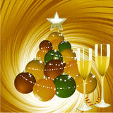 Christmas background with champagne and bauble tree Stock Images