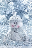 Christmas background with cheerful snowman Royalty Free Stock Image