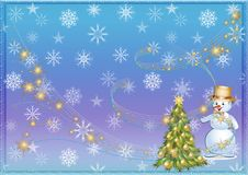 Christmas background or Christmas background. Tree.Snowman. Snow. Flakes. Garland Royalty Free Stock Photos