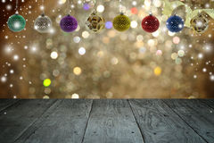 Christmas background and christmas ball with empty wooden deck. Table over winter bokeh Stock Photo