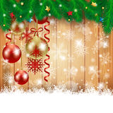 Christmas background with Christmas balls and copy space Stock Image