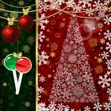 Christmas background with Christmas balls, decor elements. And snowflakes Royalty Free Stock Photo