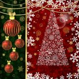 Christmas background with Christmas balls, decor elements and snowflakes vector illustration